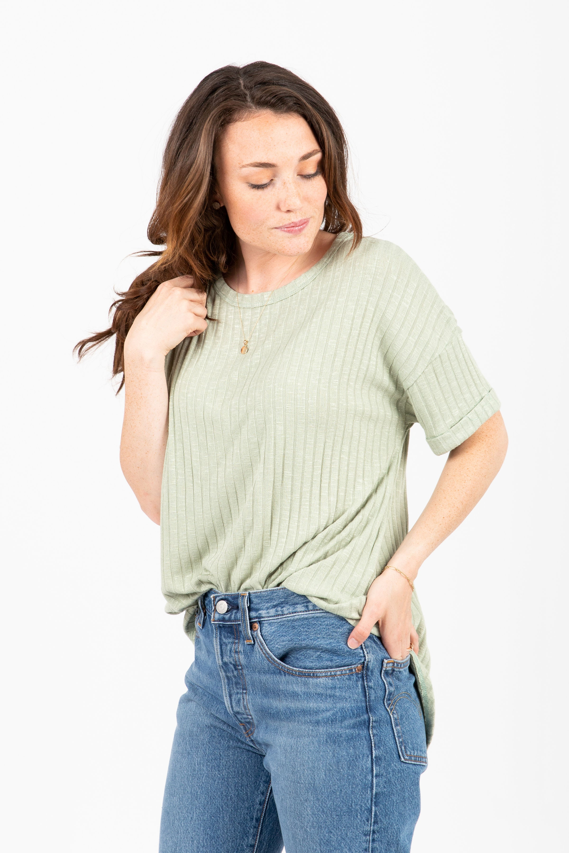 The Namaste Ribbed Blouse in Sage