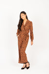 The Alter Collared Animal Print Jumpsuit in Camel, studio shoot; front view