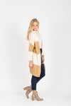 The Annelle Block Cardigan in Tan, studio shoot; side view
