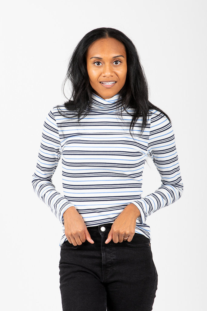 The Bedford Striped Turtleneck Blouse in Navy