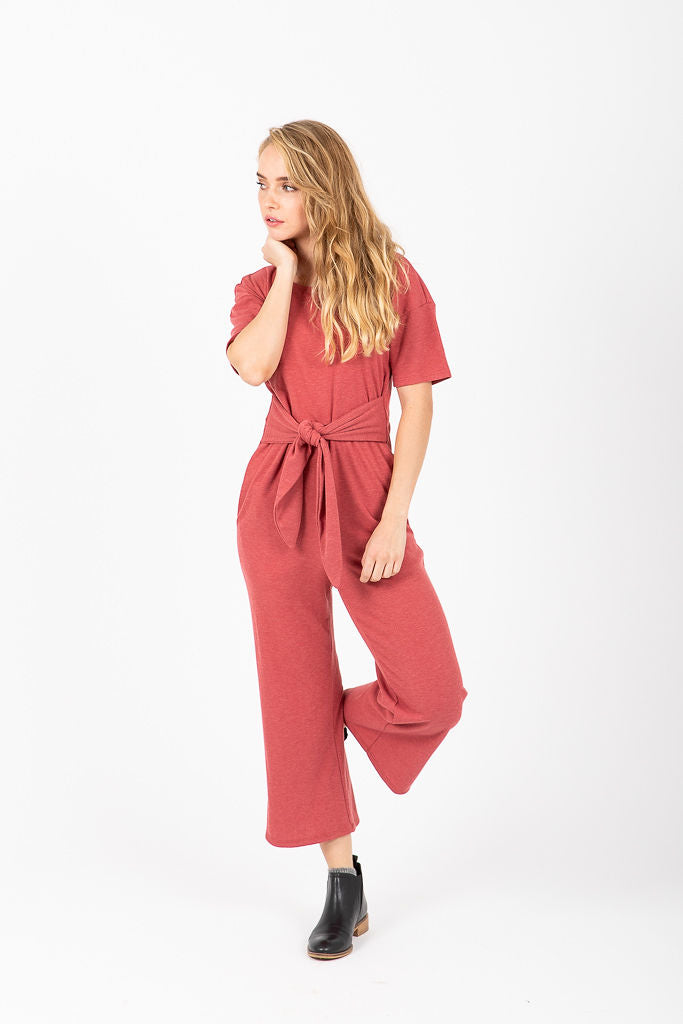 The Triplet Tie Jumpsuit in Brick