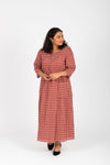 The Vivid Check Tiered Maxi Dress in Mauve, studio shoot; front view