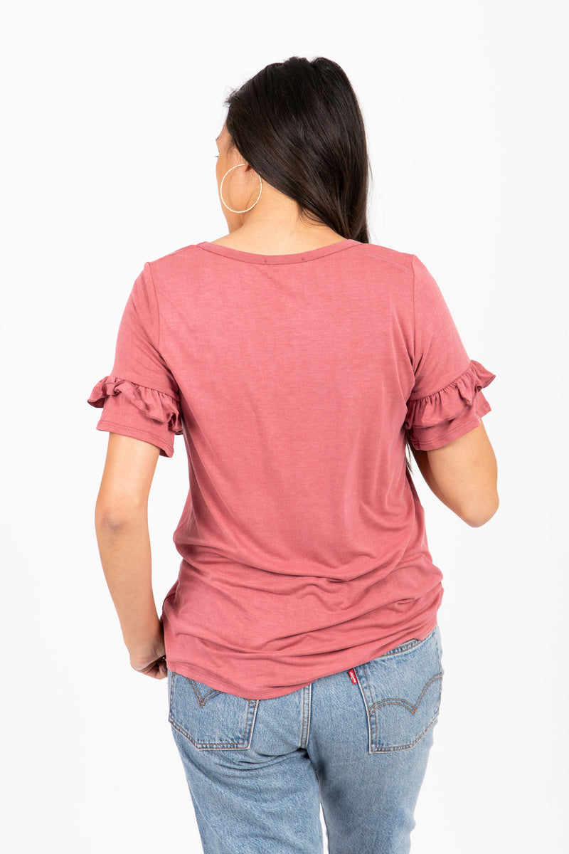 The Thirsty Ruffle Blouse in Mauve