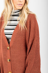 The Townsend Button Down Sweater in Brick