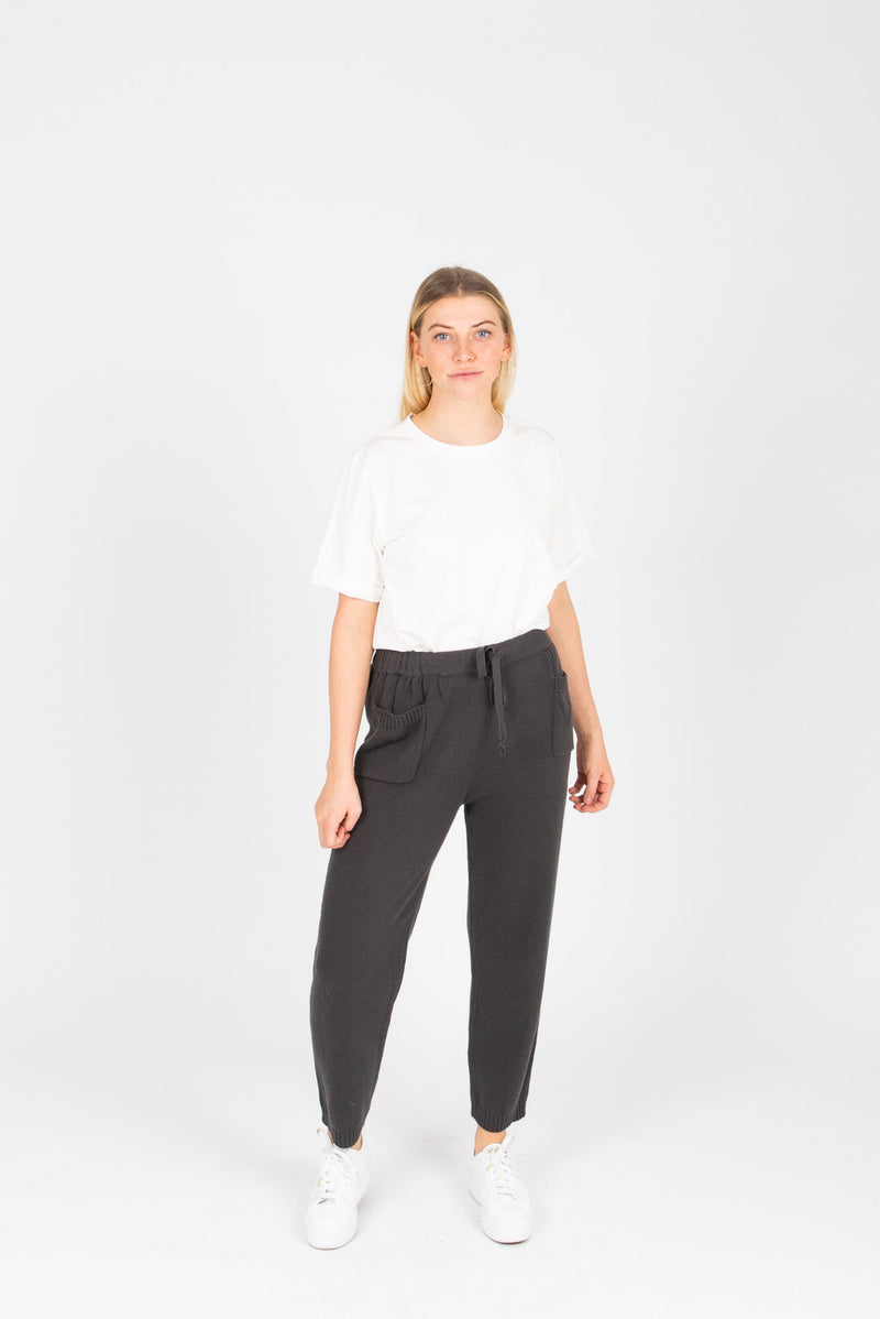 The Asami Knit Pocket Pants in Charcoal, studio shoot; front view