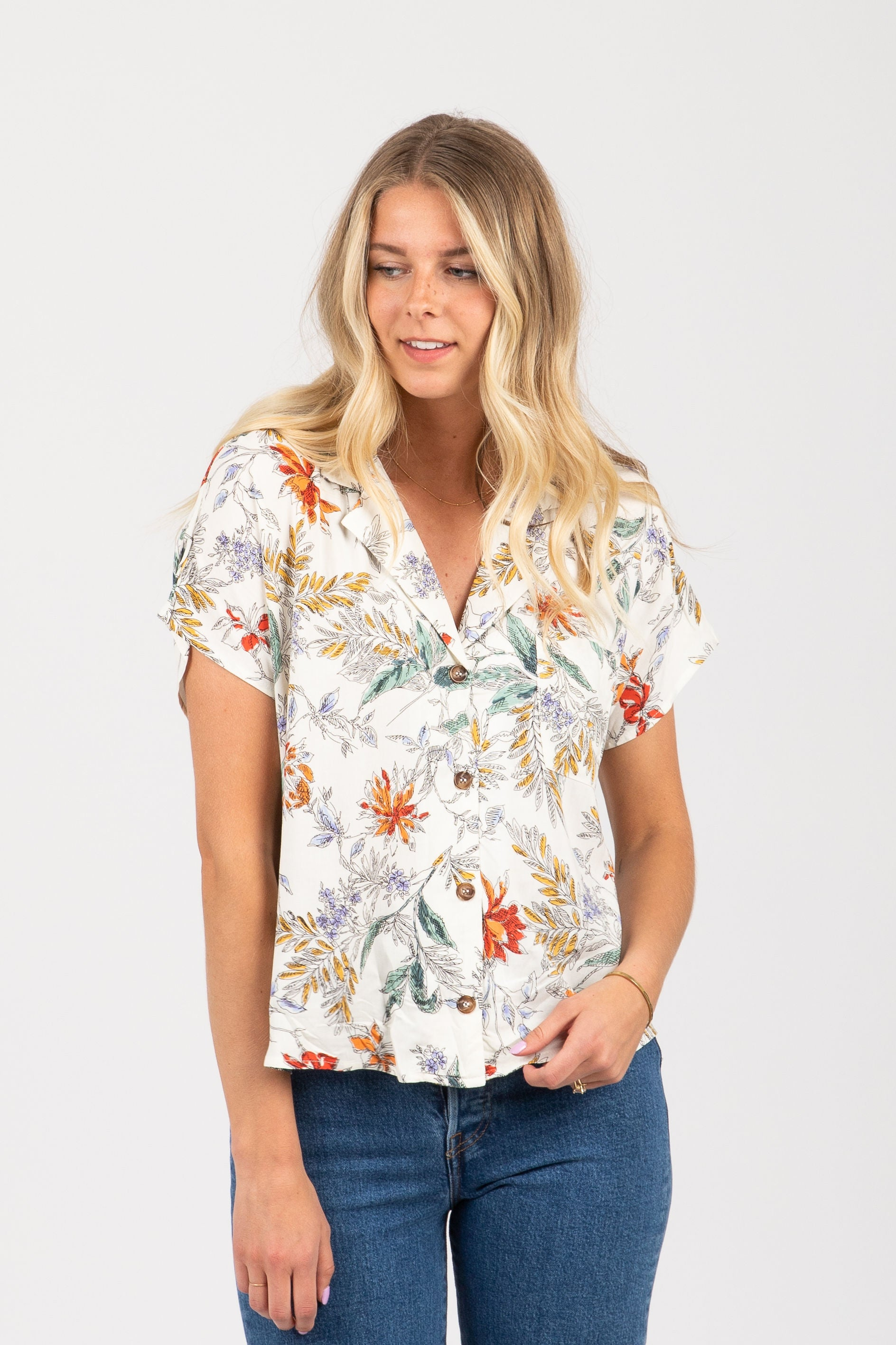The Tempting Floral Button Up Blouse in White