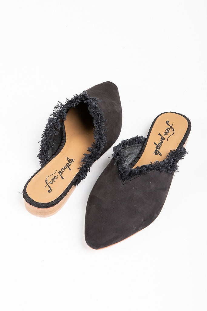 Free People: Leather Newport Flat in Black