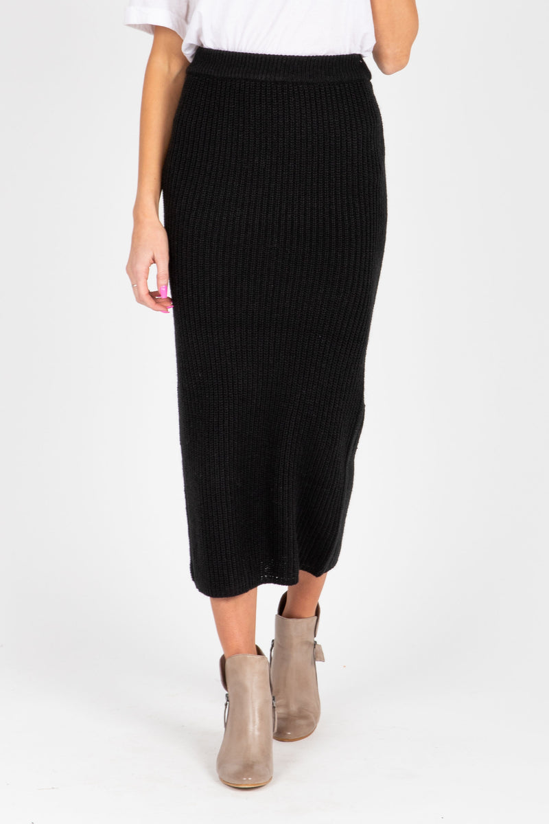 The Fernand Knit Sweater Skirt in Black