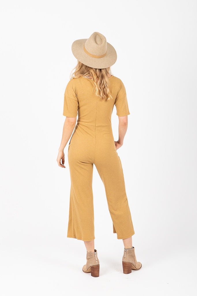 The Triplet Tie Jumpsuit in Mustard