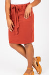Piper & Scoot: The Mimi Cinch Casual Skirt in Brick, studio shoot; front view