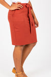 Piper & Scoot: The Mimi Cinch Casual Skirt in Brick, studio shoot; side view