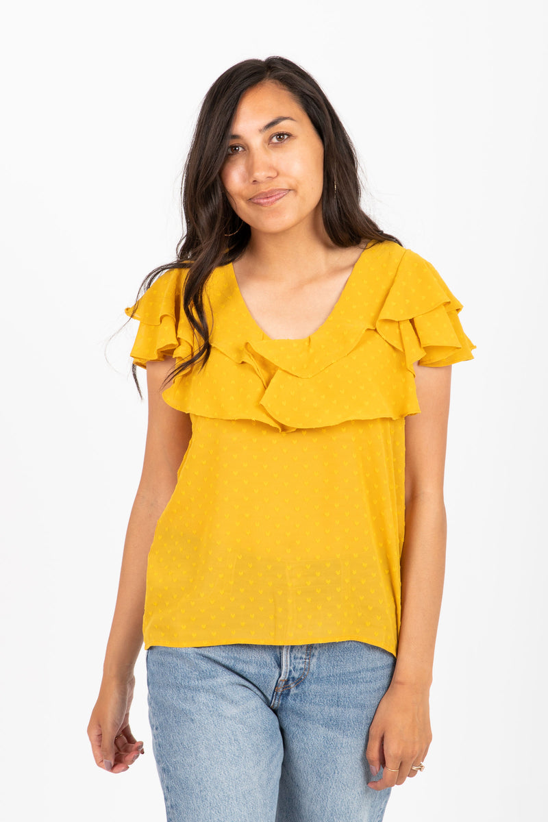 The Lemonade Ruffle Blouse in Saffron