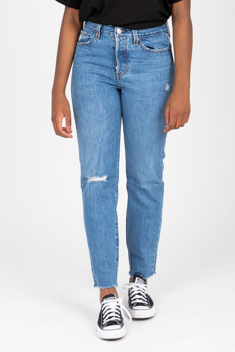 Levi's: Wedgie Fit Ankle Jeans in Athens Medium Wash, studio shoot; front view