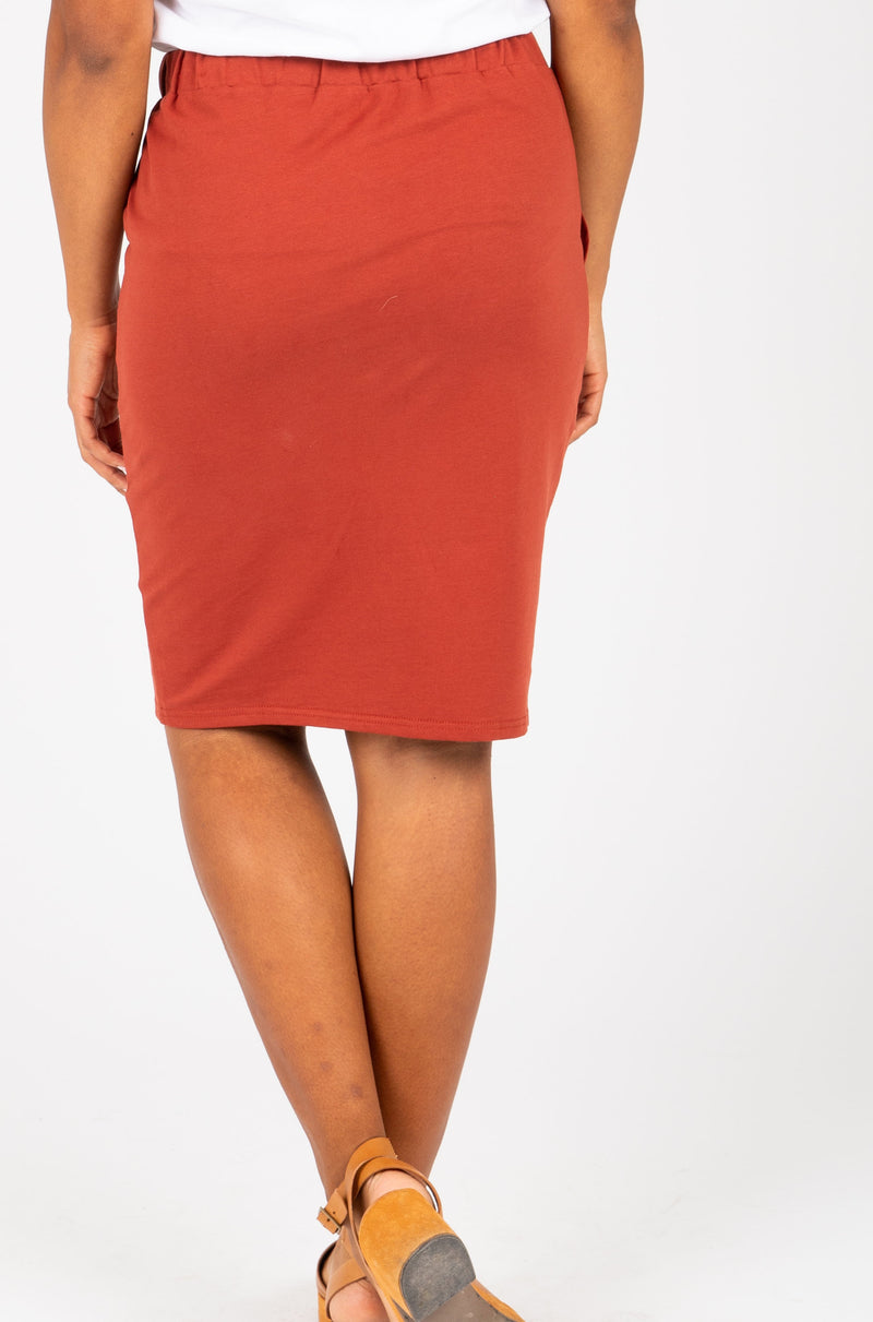 Piper & Scoot: The Mimi Cinch Casual Skirt in Brick, studio shoot; back view