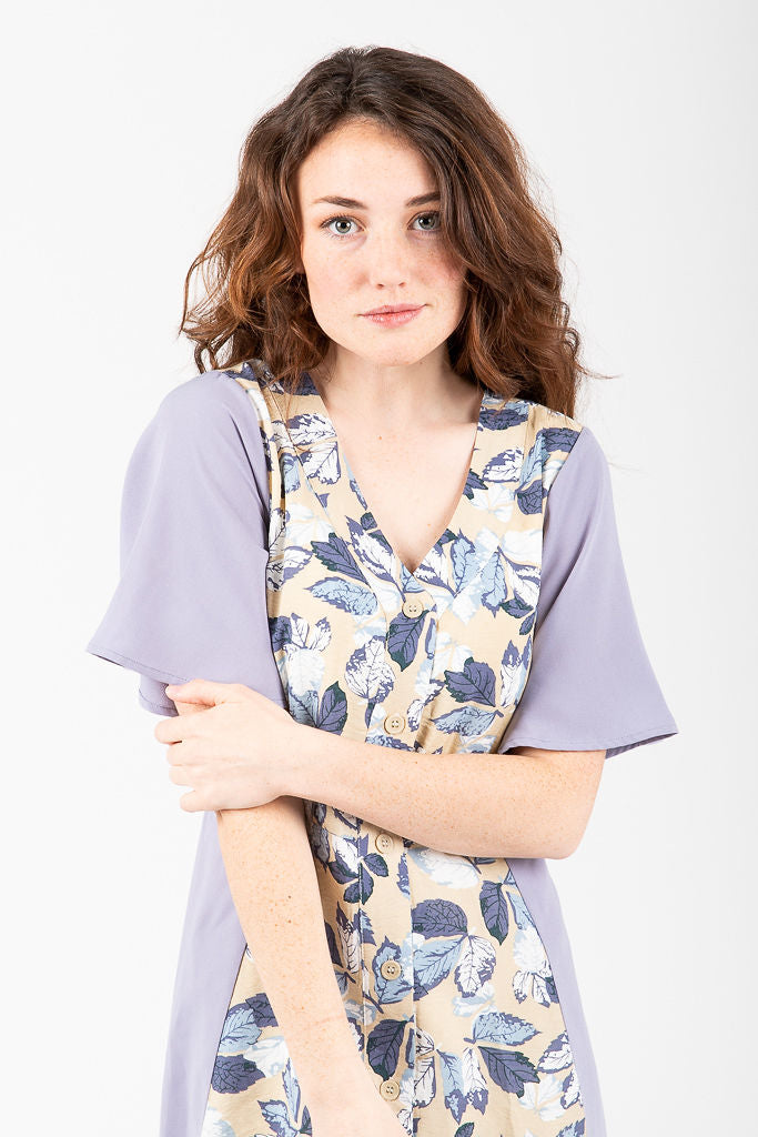 Piper & Scoot: The Hyatt Mixed Floral Dress in Dusty Grey