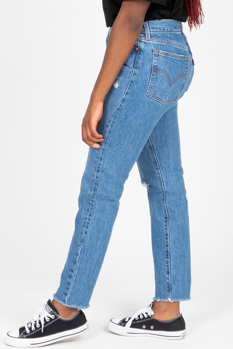 Levi's: Wedgie Fit Ankle Jeans in Athens Medium Wash, studio shoot; side view