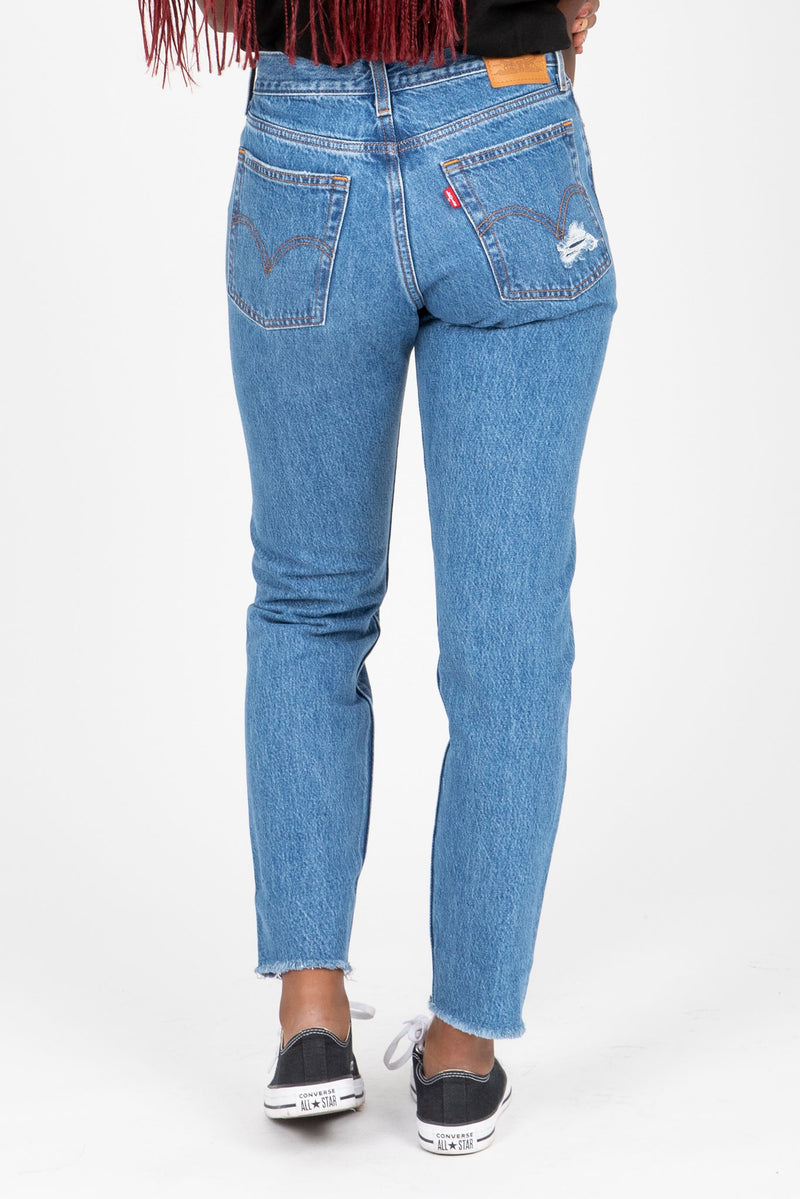 Levi's: Wedgie Fit Ankle Jeans in Athens Medium Wash, studio shoot; back view
