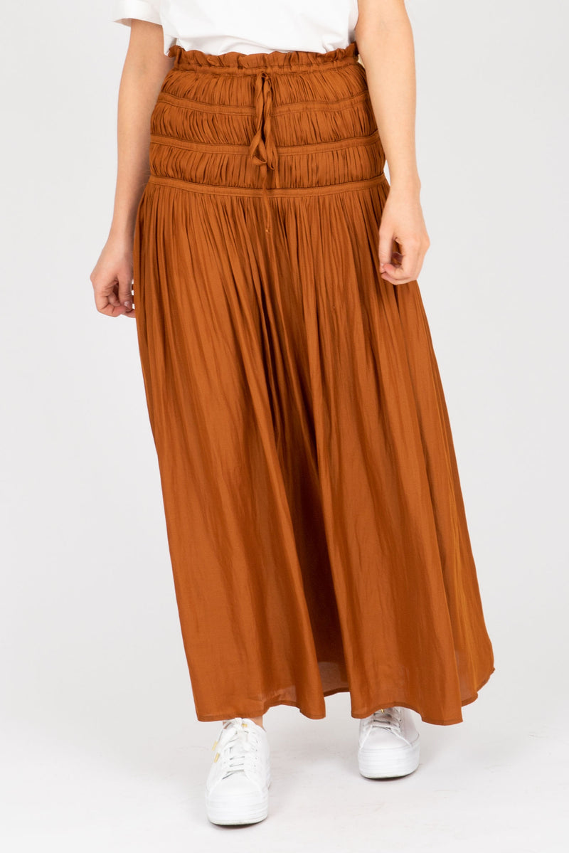 The Linda Smocked Skirt in Camel