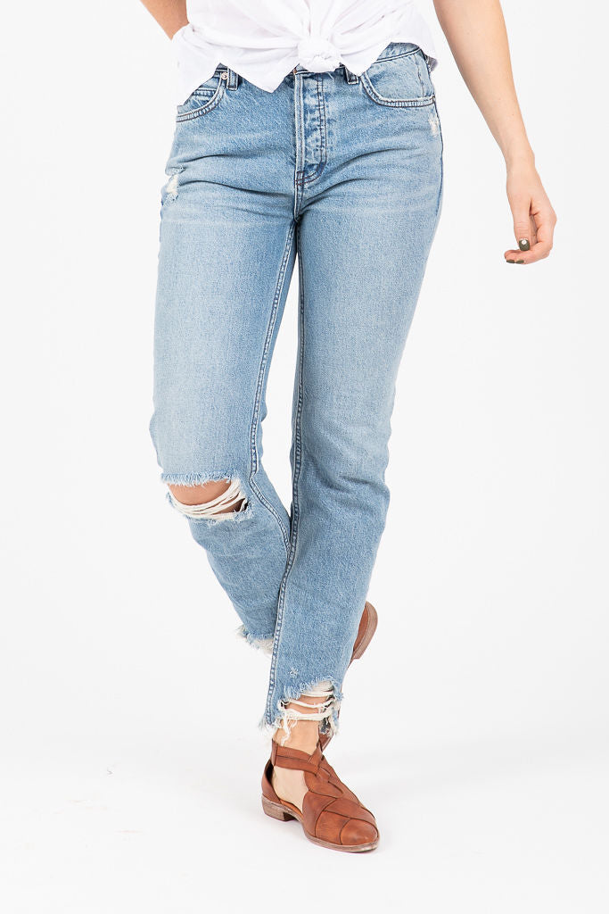 Free People: Chewed Up Mid-Rise Straight-Leg Jean