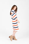 Piper & Scoot: The Erin Striped Casual Dress in Rust + Navy