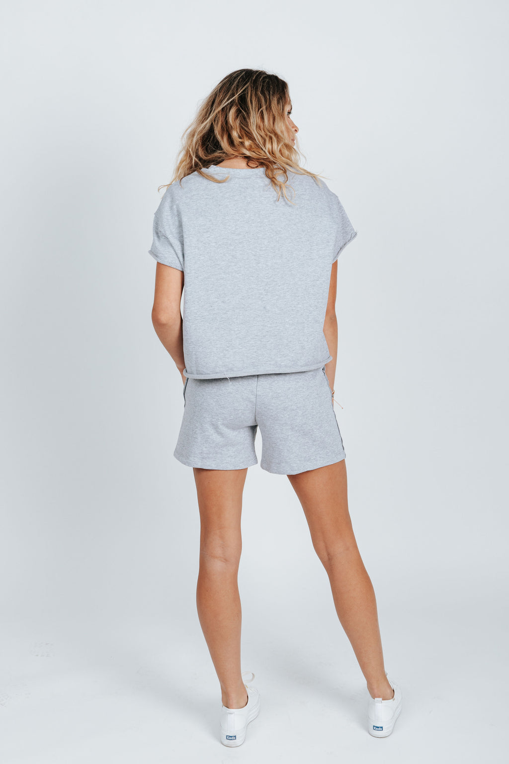 The Bradley Short Set in Heather Grey, studio shoot; back view
