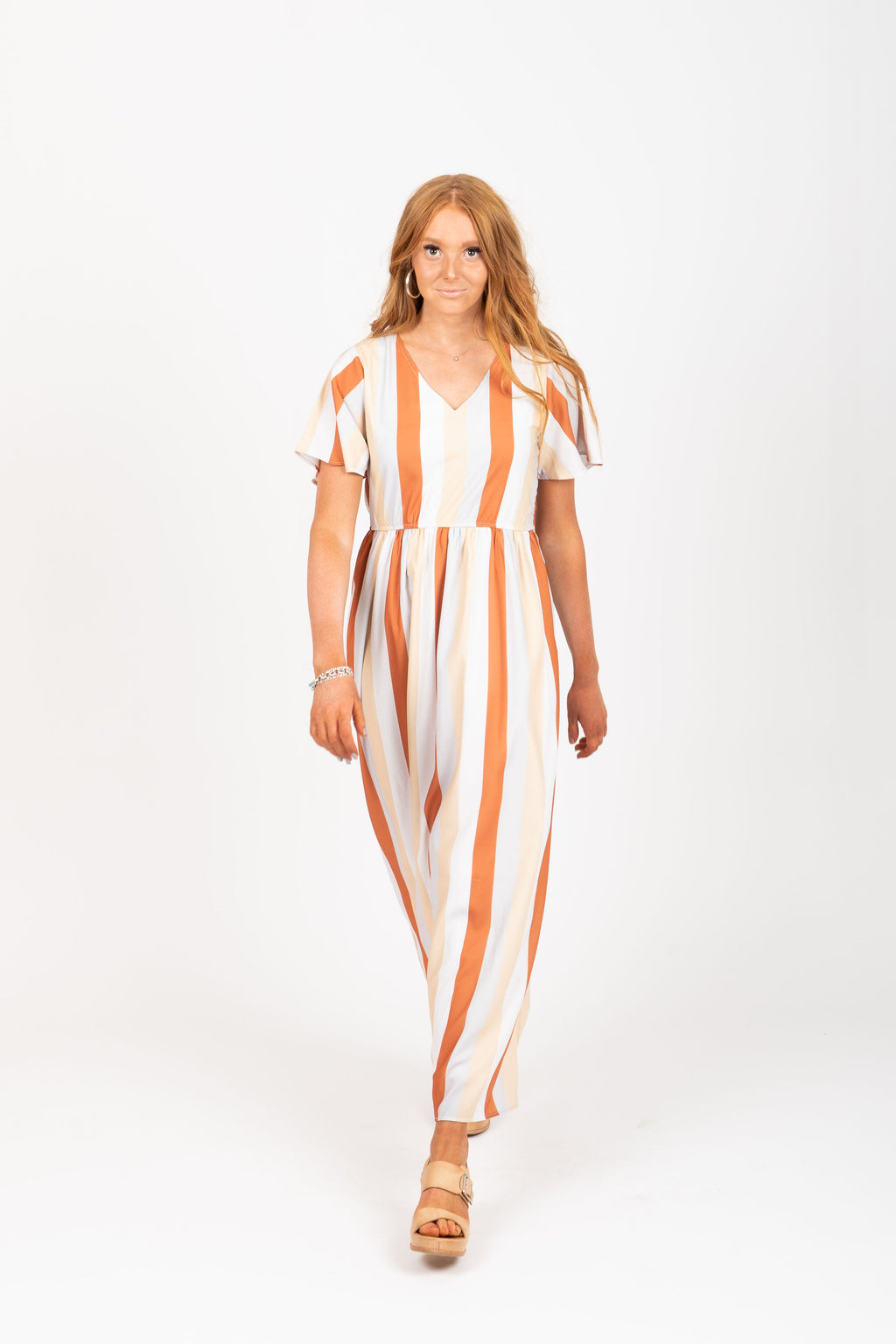 The Butler Striped Maxi Dress in Multi, studio shoot; front view