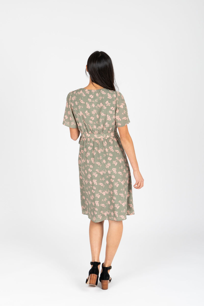 Piper & Scoot: The Alora Floral Wrap Dress in Sage, studio shoot; back view