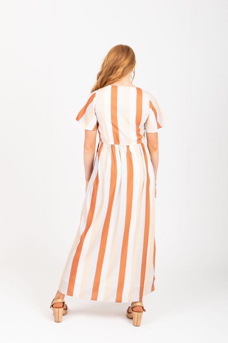 The Butler Striped Maxi Dress in Multi, studio shoot; back view