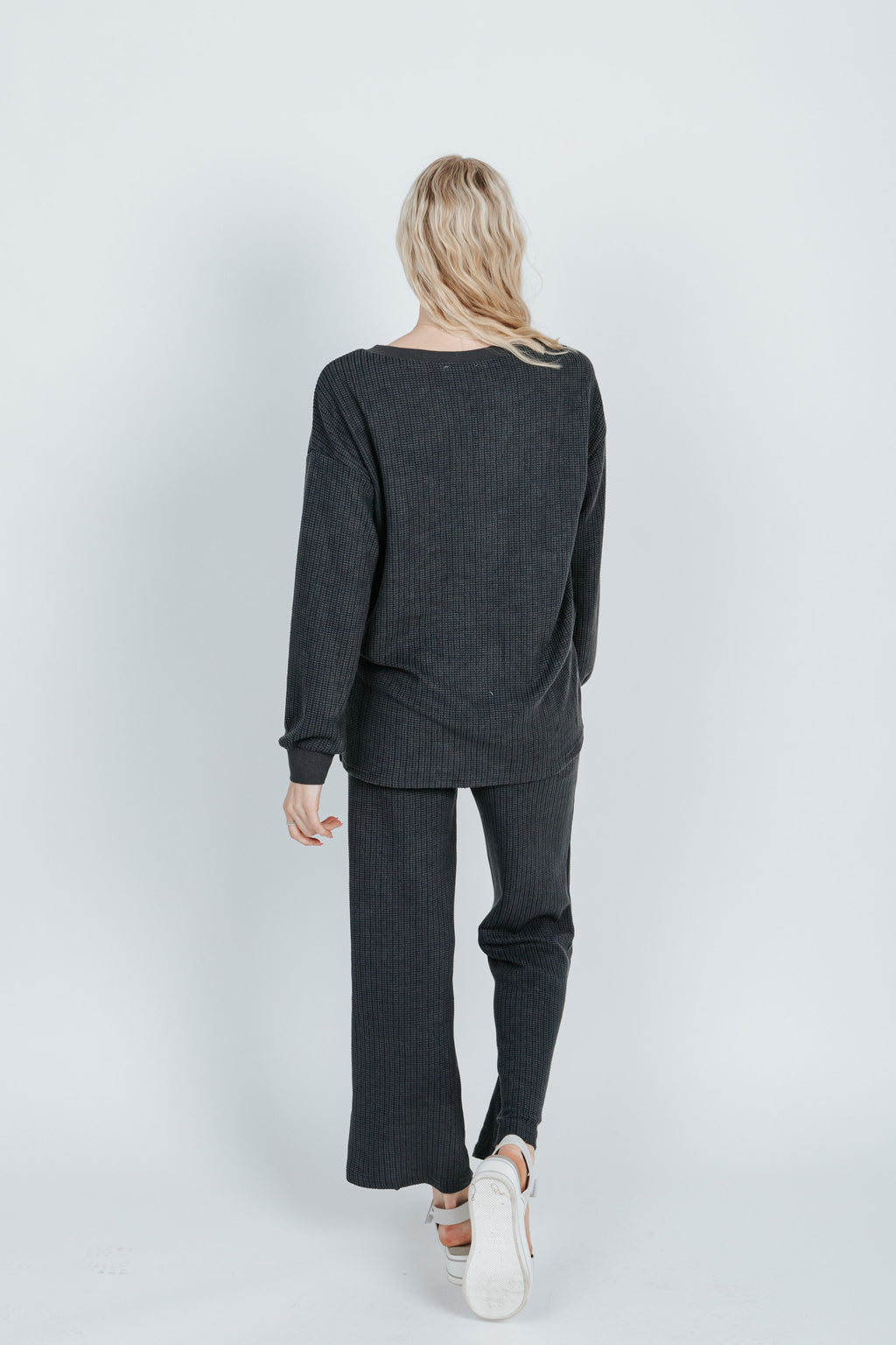 The Anderson Waffle Knit Set in Charcoal