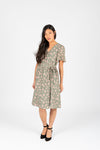 Piper & Scoot: The Alora Floral Wrap Dress in Sage, studio shoot; front view