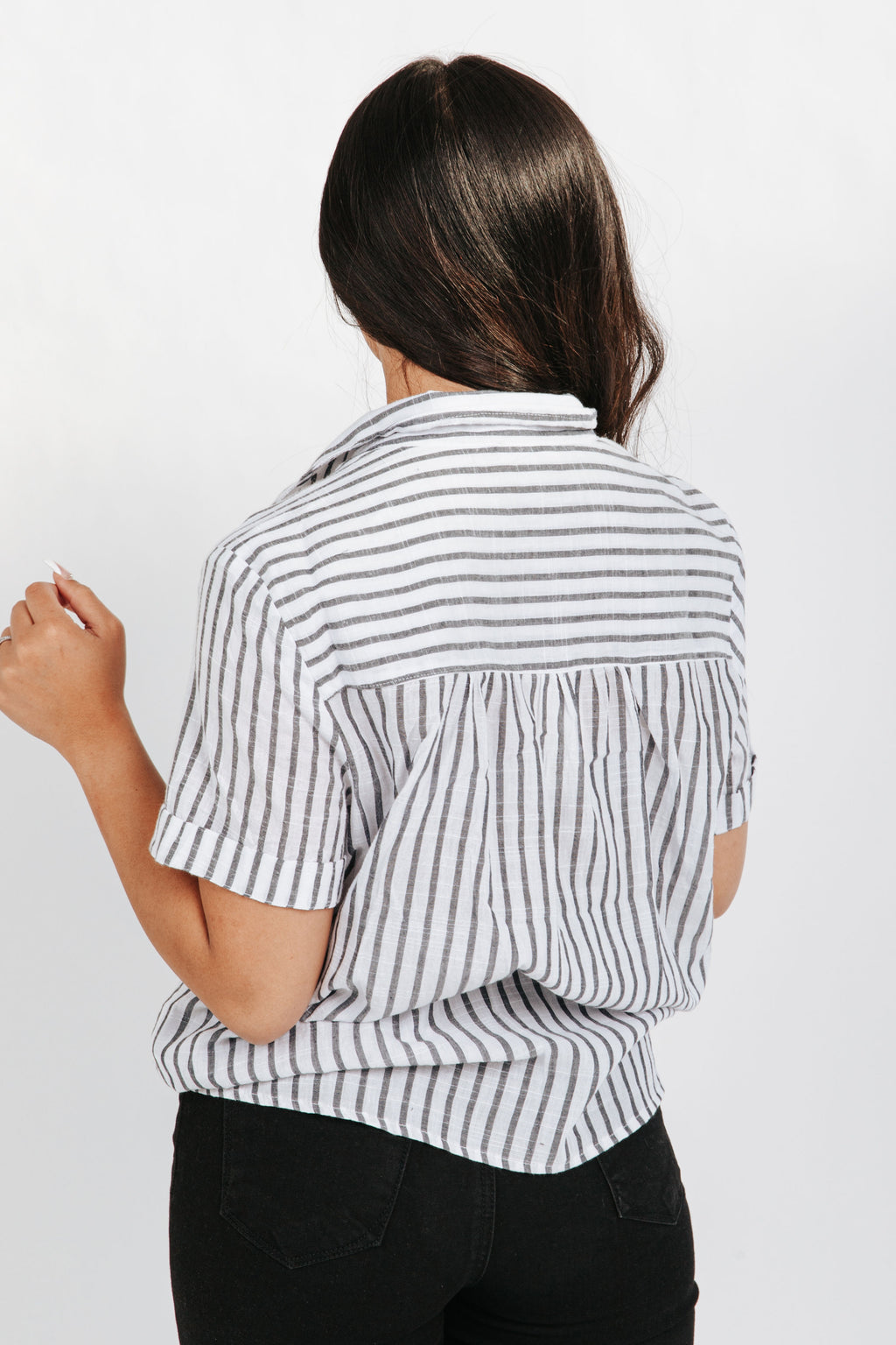 The Adam Striped Blouse in Navy, studio shoot; back view