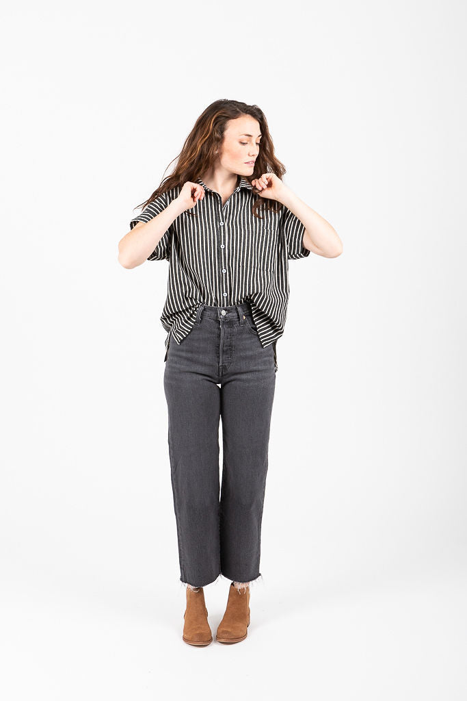 The Currie Striped Button Up Blouse in Black