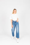 Levi's: Ribcage Straight Ankle Jeans in Haight at the Ready, studio shoot; front view