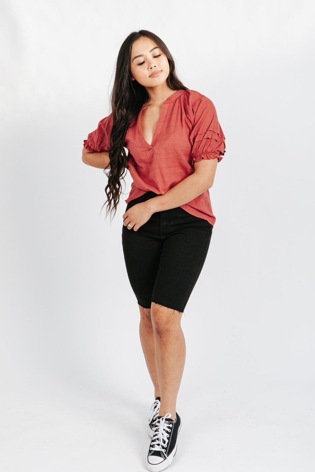 The Holbrook V-Neck Blouse in Rose, studio shoot; front view