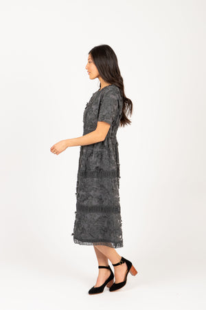 Piper & Scoot: The Ultimate Lace Detail Dress In Charcoal, studio shoot; side view