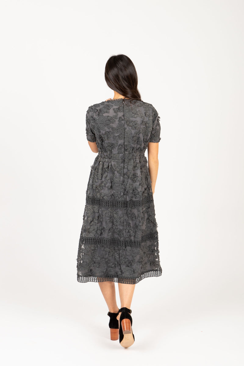 Piper & Scoot: The Ultimate Lace Detail Dress In Charcoal, studio shoot; back view