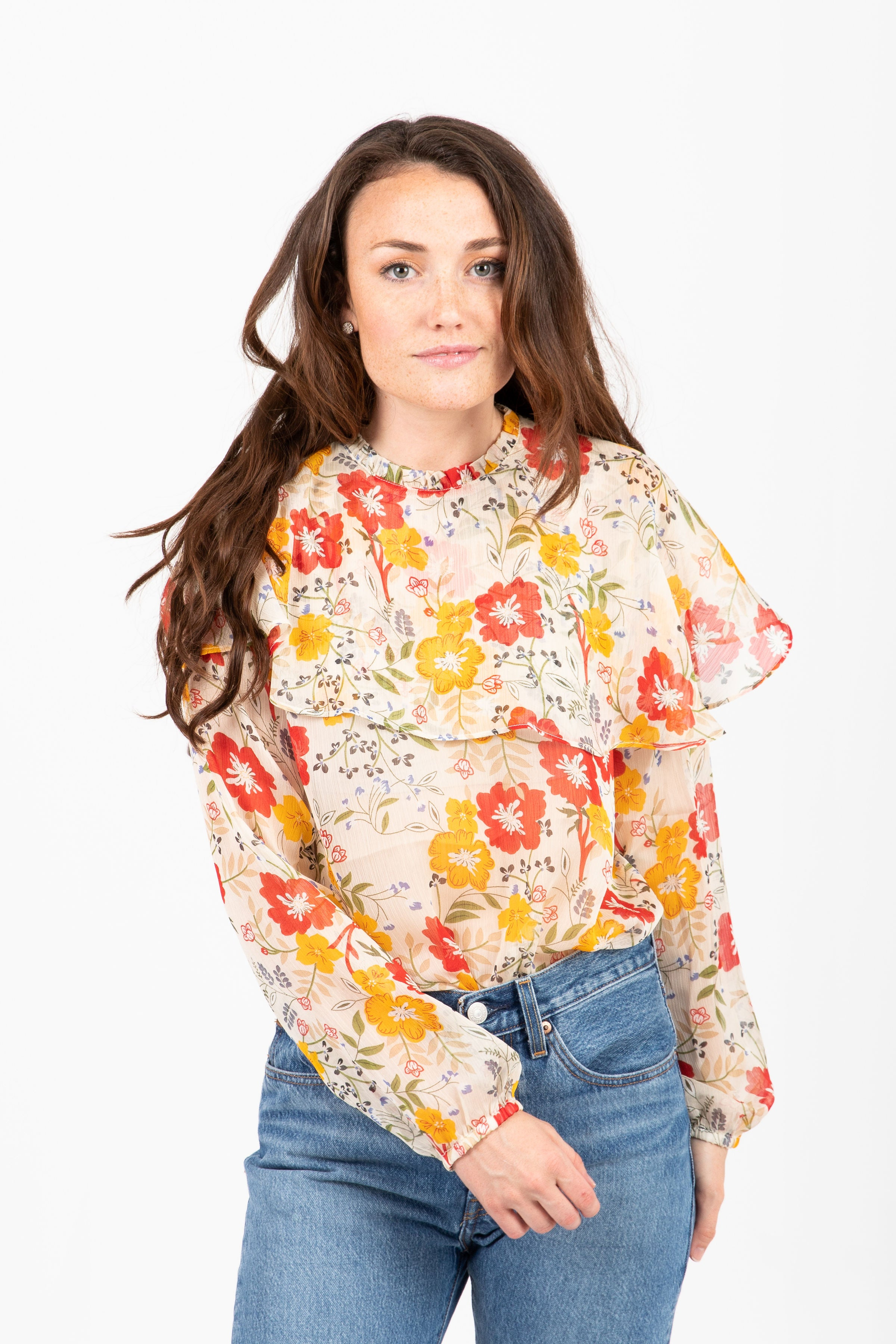 The Escape Floral Sheer Blouse in Ivory