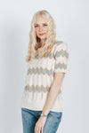 The Crompton Patterned Knit in Sage, studio shoot; front view