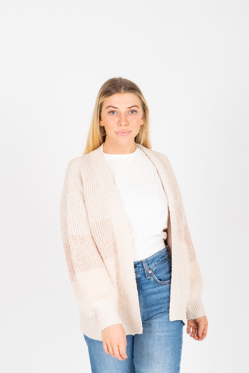 The Judy Block Cozy Cardigan in Blush, studio shoot; front view