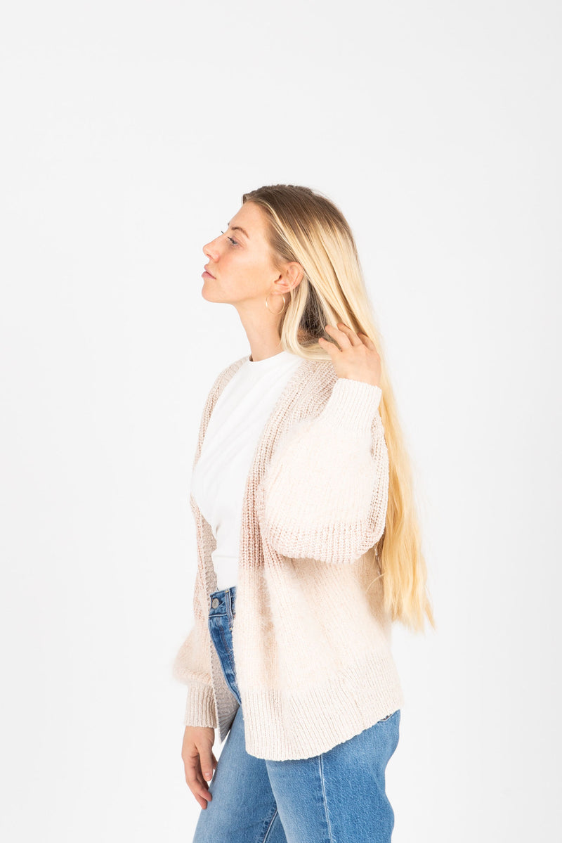 The Judy Block Cozy Cardigan in Blush, studio shoot; side view