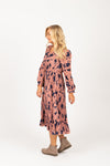 Piper & Scoot: The Stargaze Floral Flare Dress in Rose, studio shoot; side view