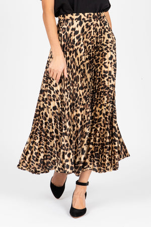 The Rebekah Pleated Leopard Midi Skirt