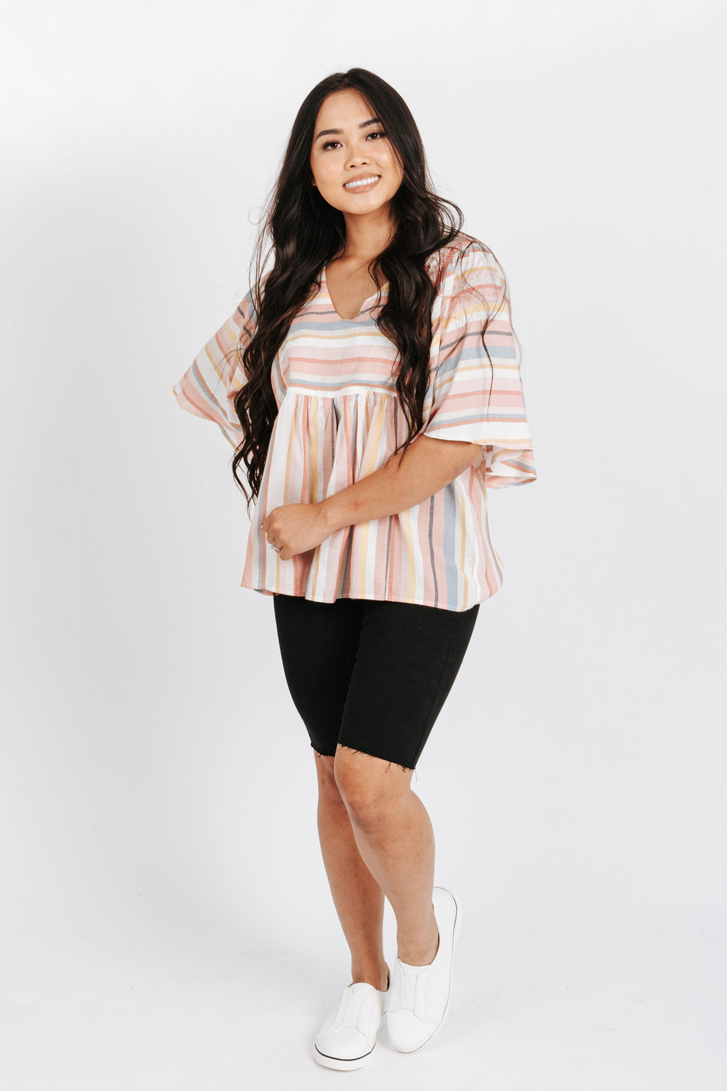 The Jayne Striped Blouse in Pink Multi, studio shoot; front view