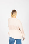The Judy Block Cozy Cardigan in Blush, studio shoot; back view