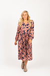 Piper & Scoot: The Stargaze Floral Flare Dress in Rose, studio shoot; front view