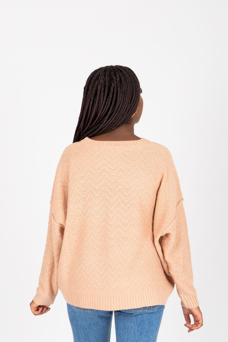 The Miffy Button Knit in Dusty Peach