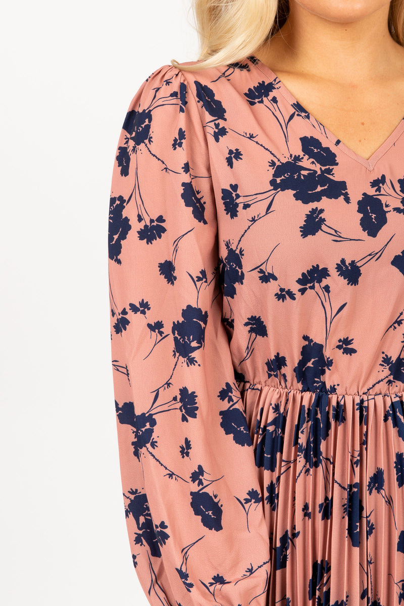 Piper & Scoot: The Stargaze Floral Flare Dress in Rose, studio shoot; closer up front view