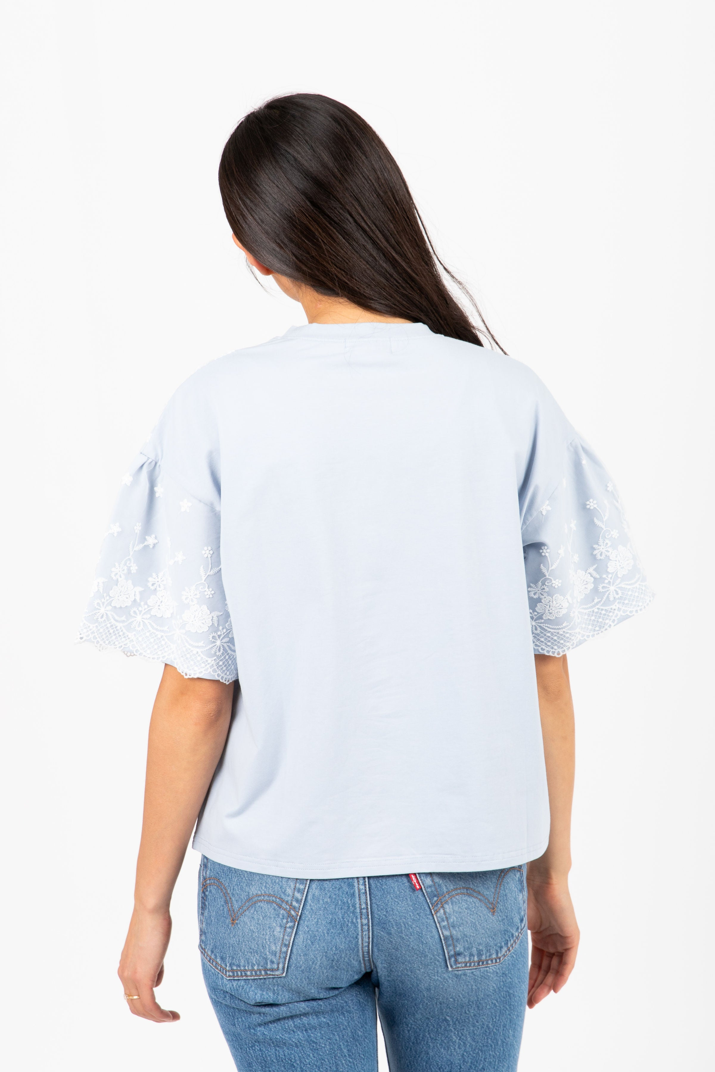 The Lovespell Lace Detail Blouse in Sky