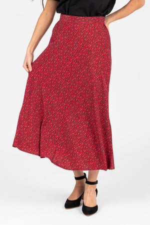 The Fran Patterned Midi Skirt in Red, studio shoot; front view