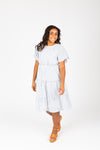 , The Toni Grid Tiered Dress in Sky, studio shoot; front view